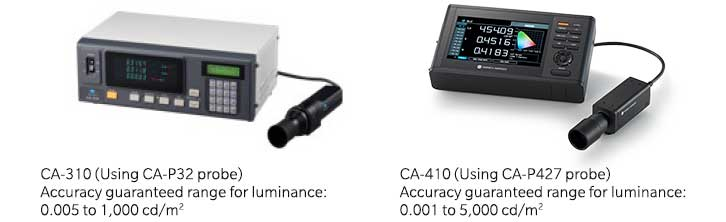 Compare accuracy guaranteed range for Luminance of CA-310 and CA-410
