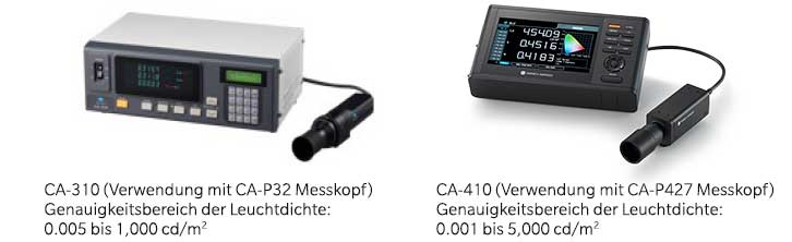 Compare accuracy guaranteed range for Luminance of CA-310 and CA-410 DE